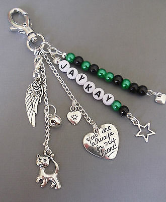 Pet Loss/In Memory memorial loss of cat, key/bag charm, personalised free 4