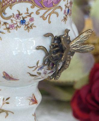 Porzellan Vase Bronze Prunkvase Pokal Blumenvase Tischvase Craquele Prunkgefäß 3