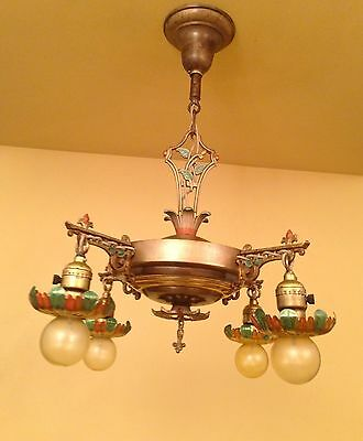 Vintage Lighting 1930 brass pan chandelier with lovely details 2