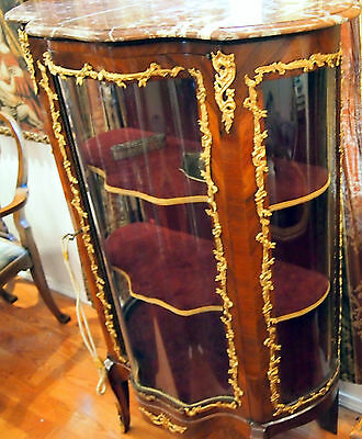 """Vitrin 19C French Bronze Work And Glass Doors  With Marbel Top :57"""" High 3"""