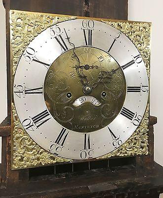 ~ Antique Brass 8 Day Oak & Mahogany Longcase Grandfather Clock WALKER NANTWICH 5