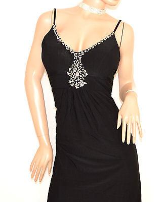 new products d7600 f7f13 ABITO NERO LUNGO donna elegante strass cristalli vestito da sera cerimonia  E135