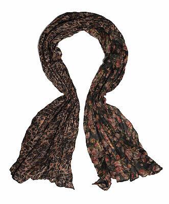 Halstuch Print-Leopard Leo Blumen Muster beidseitig modische Crushoptik Schal