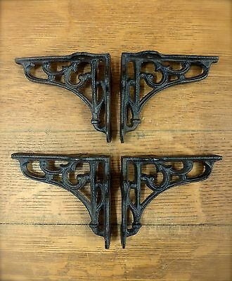 "4 SMALL BROWN ANTIQUE-STYLE 4"" SHELF BRACKETS CAST IRON rustic garden SCROLL 4"