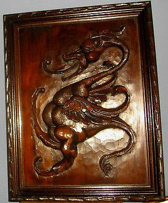 Talla De Dragón De Madera, Enmarcado, 55X40 Ctms