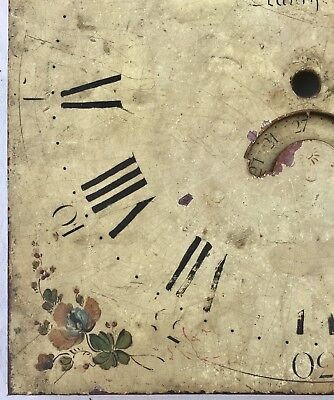 """Antique Longcase Grandfather Clock Dial By Jones  Llanfyllin 12"""" By 12"""" 30 Hour 2"""