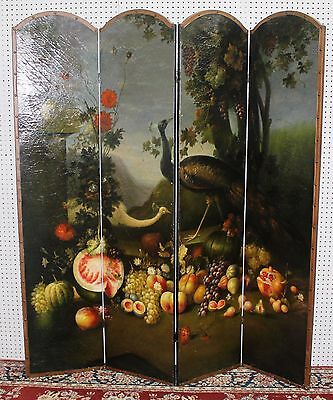 Antique Style French Four Panel Hand Painted Peacock Fruit Screen Divider 8