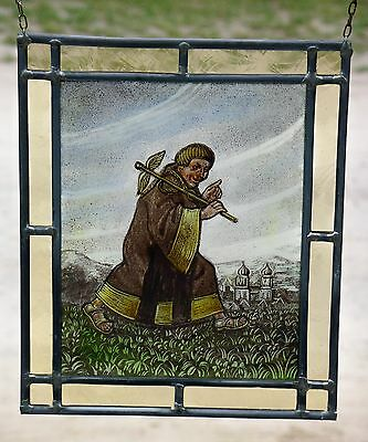 "Leaded Glass Window Image rare old Glass painting Picture ""Eilender Monk"" 3"
