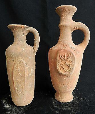 2 pcs. Biblical Antique Jugs Holy Land Jerusalem Clay Pottery Menorah David Star 2