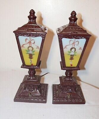 pair of antique vintage ornate reverse painted glass metal table boudoir lamps 3