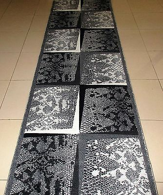 New Grey Animal Skin Print High Quality Heatset Hall Runner Themed Rug 80X300Cm