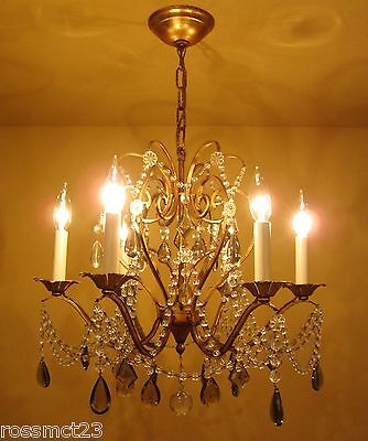 Vintage Lighting antique 1960s Lightolier crystal chandelier   Stunning 2