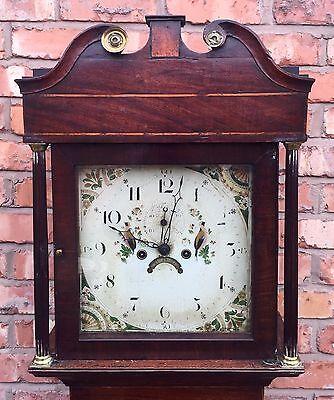 Beautiful Antique Oak And Mahogany Long Case GrandFather Clock 4
