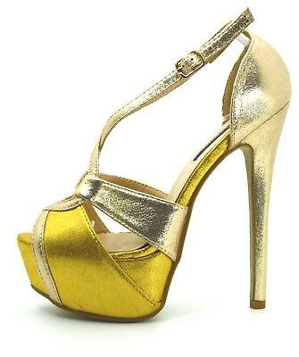 2e52389791c6bf ... scarpe donna DECOLTè decollete tacco alto 15 colore metallizzo Mary  Jane plateau 9