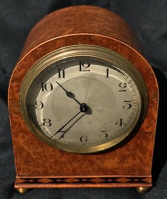 Stunning Vintage Antique Amboyna Wood Mantel Bracket Clock Inlaid Like Walnut 2