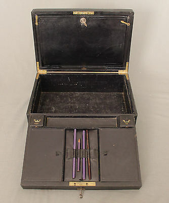 19th Century Leather Writing Box by W Leuchars 38 Piccadilly London 7