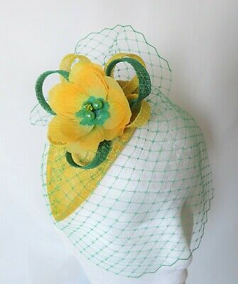 Canary Daffodil Yellow & Emerald Green Fascinator Headpiece Wedding Ascot Races 8