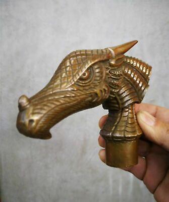 Bronze Brown Patina Birds Dragon Beast Statue Cane Walking Stick Head
