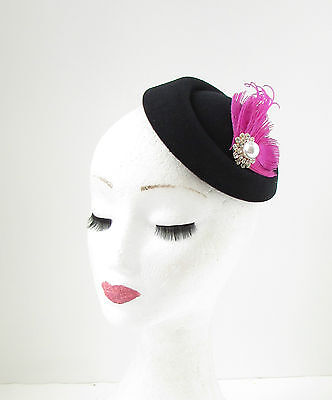 Black Hot Pink Silver Feather Pillbox Fascinator Hat Races Vintage Hair Clip 138 4