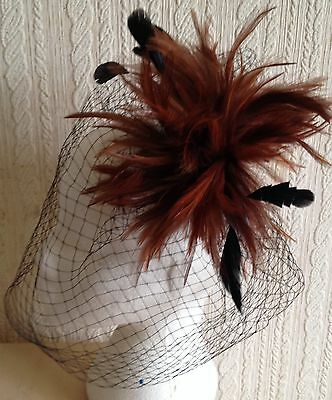 brown feather black veiling fascinator millinery hair clip ascot wedding bridal 3