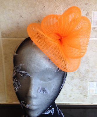 Orange fascinator millinery burlesque wedding hat hair piece ascot race bridal 2