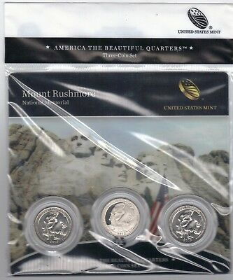 "BU sealed 2013 Mount Rushmore PDS ATB 3-coin set National Parks USMint ""Makeoffr 2"