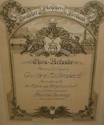 Ehren Urkunde Fleischer-Innung Gummersbach 1875 Heraldik Rhein Leuchtturm Schiff