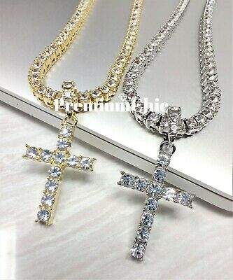 ICED Cross Pendant & Tennis Chain Choker Gold Silver Plated Mens HipHop Necklace 3