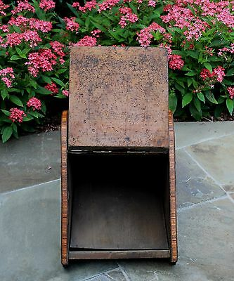 Antique French Burled & Inlaid Walnut Fireplace Hearth Coal Hod Scuttle Shovel 9