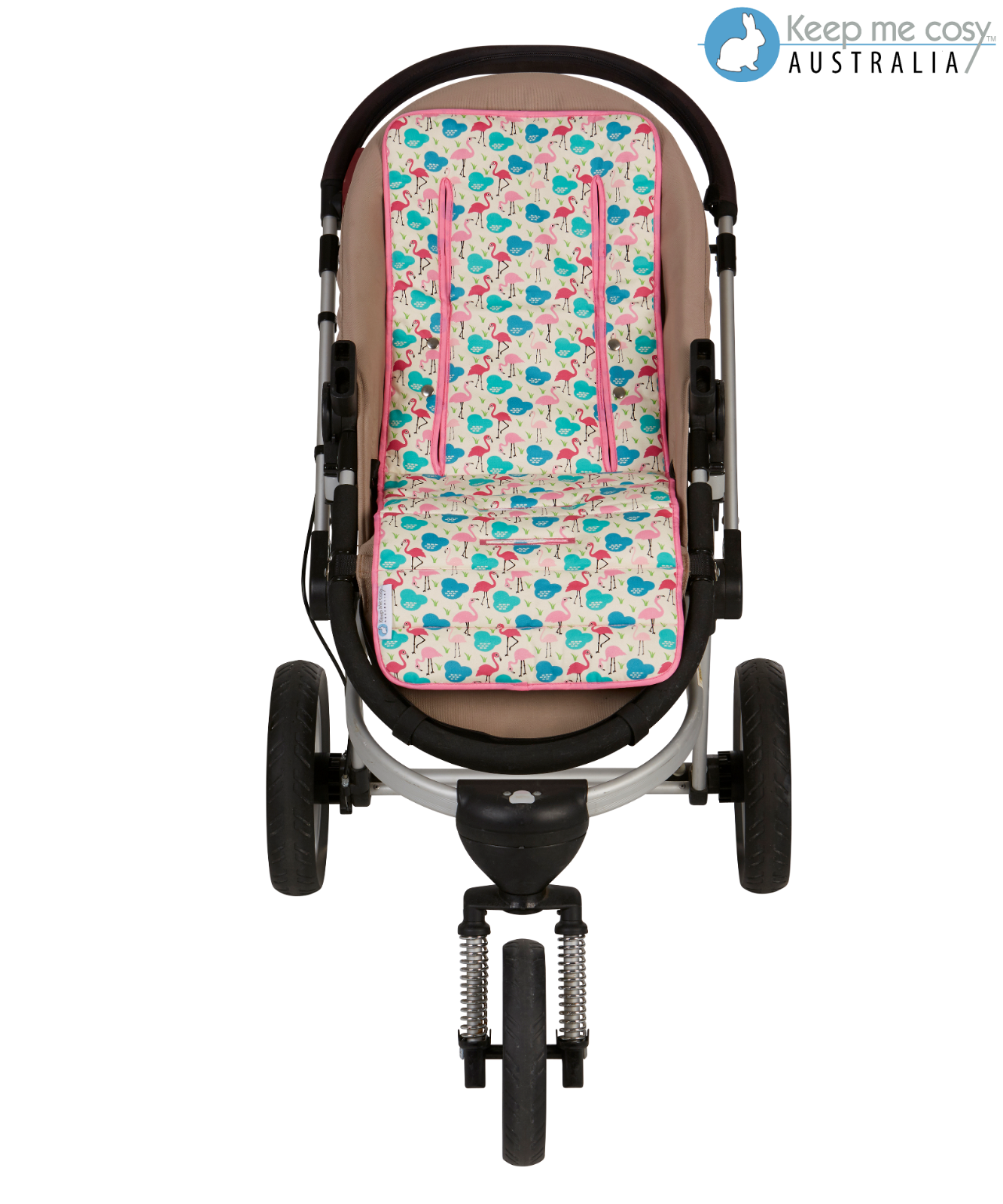 Keep Me Cosy™ Pram Liner Set + Harness & Buckle Cosy (Flamingo) 2