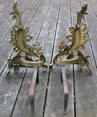Antique 19th Century Bronze Brass French Louise XV Flames Fireplace Andirons 10