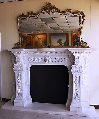Hand Carved Carerra Marble Country French Monumental Fireplace Mantel Columns