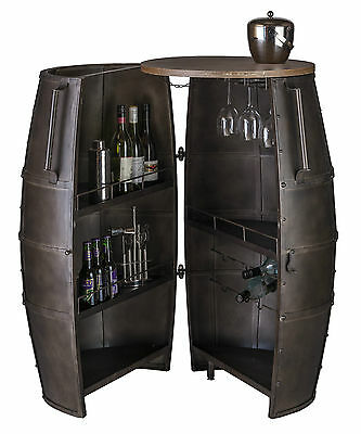 Bar Cabinet Wine Rack Storage Alcohol Wrought Iron 80 Bottles Barrel 2