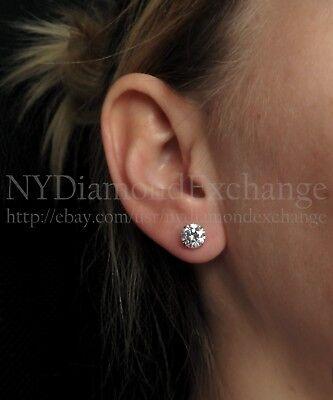 3 Ct. Round Created Diamond Stud Earrings 14K White Gold Heavy Basket Screw-Back 6