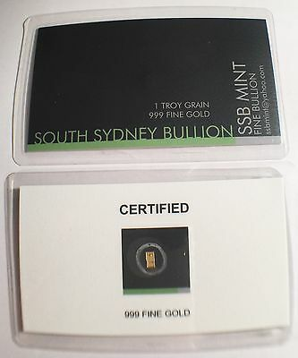NEW 1 Troy Grain 999.9 Fine Solid Gold Ingot SSB a Safe Investment, Certified