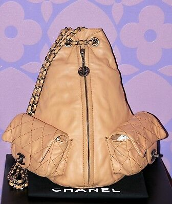 a982e89214d822 ... Chanel LAMBSKIN Quilted Leather Large/Mini BACKPACK Ruthenium HW Chain  Bag RARE! 2