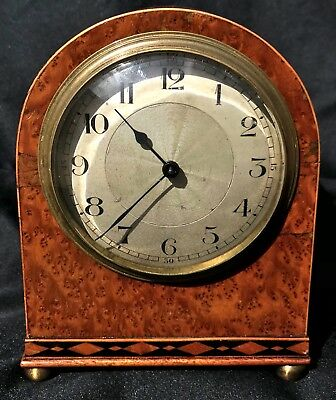 Stunning Vintage Antique Amboyna Wood Mantel Bracket Clock Inlaid Like Walnut 3