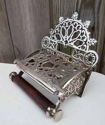 Victorian Style Solid Brass Toilet Roll Holder With Wooden Loop 4