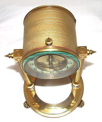French Antique VINCENTI & CIE Drum Head Brass Striking Bracket Mantel Clock 9