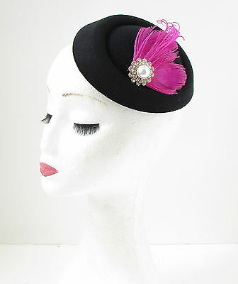 Black Hot Pink Silver Feather Pillbox Fascinator Hat Races Vintage Hair Clip 138 2