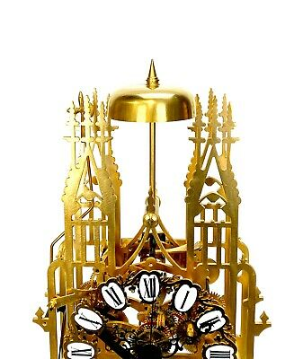 Large English Style Cathedral Crown Escapement Fusee Striking Skeleton Clock 5