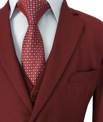 Boys 5 Piece Formal Suits Page Boy Prom Wedding Outfit in Claret Red 5