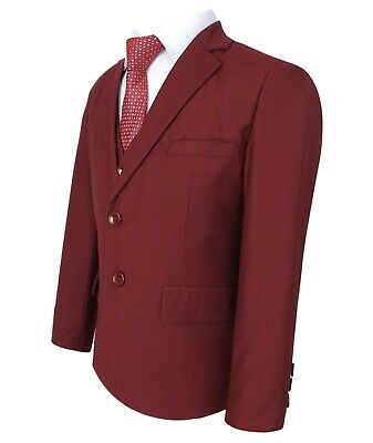 Boys 5 Piece Formal Suits Page Boy Prom Wedding Outfit in Claret Red 3