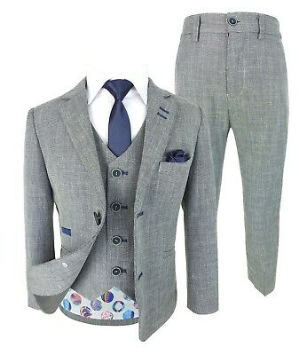 Kids Parliament Blue Grey Check Tweed Complete Suit for Page Boys Wedding Prom