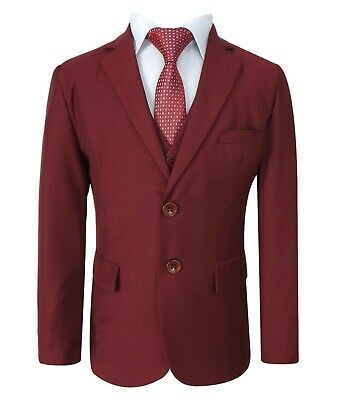 Boys 5 Piece Formal Suits Page Boy Prom Wedding Outfit in Claret Red 2