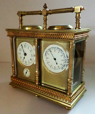 Antique French Double Carriage Clock Barometer / Alarm  / Compass Set 2