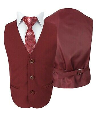 Boys 5 Piece Formal Suits Page Boy Prom Wedding Outfit in Claret Red 6