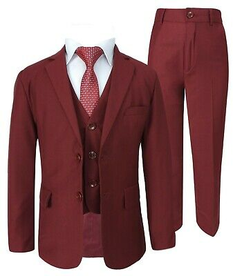 Boys 5 Piece Formal Suits Page Boy Prom Wedding Outfit in Claret Red 9