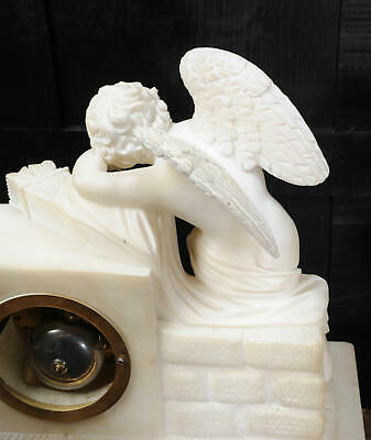 Early Antique French Alabaster Clock Set Cupid Menacing Love C1820 11