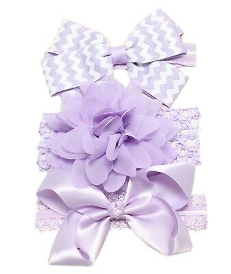 3pc Baby Girl Elastic Headbands 0/3/6/9/12/18/24 Months Pink Lilac Bow Flower 4